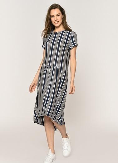 Loves You Çizgili Eteği Volanlı Elbise Lacivert